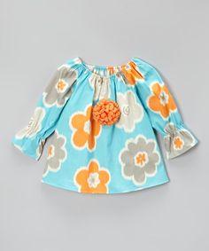 Loving this Aqua & Orange Floral Peasant Top - Toddler & Girls on #zulily! #zulilyfinds