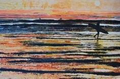 Golden Surf, Watergate Bay, Cornwall. Original Painting by Melanie McDonald. Art prints available.