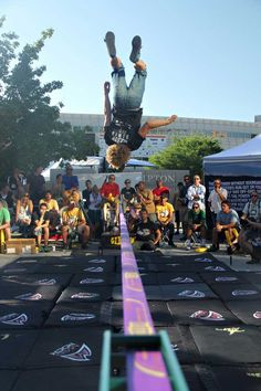 Remember that dude slacklining in a toga during Madonna's Super Bowl halftime show? His name is Andy Lewis, and we caught up with him at the @Trent Van Alfen Mountain Games in June. #interview