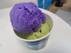 Ube and avocado ice