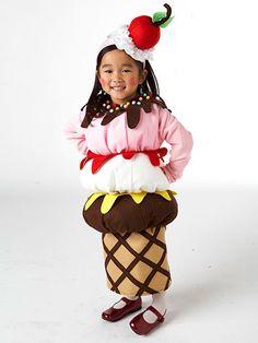 Disfraz de niña de helado de tres sabores con guirnalda incluida :))