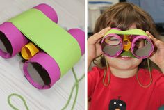 Jungle Themed Birthday Party? How about binoculars made out of recycled toilet paper rolls??