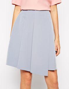 ASOS Pleat Front Bonded Midi Skirt