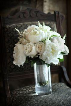 All White Bouquet   Araujo Photography   TheKnot.com