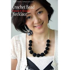 Crochet Bead Necklace With Ribbon Flower