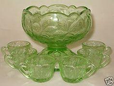 green depression glass punch bowl set