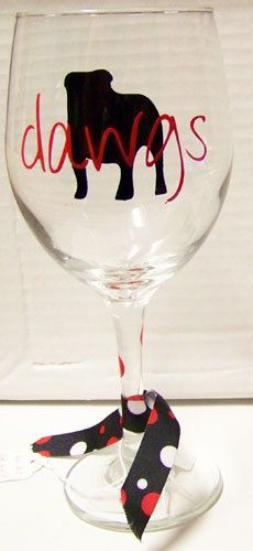 University of Georgia (UGA) Red & Black Bulldog Wine Glass. $10.00, via Etsy.