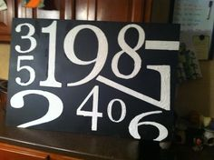 my version of the pottery barn number canvas with my numbers