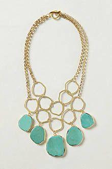 Hammered Turquoise Bib Necklace