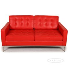 Florence Knoll Style Love Seat, Red Premium Leather |