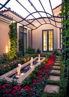 Mediterranean courtyard, gardening