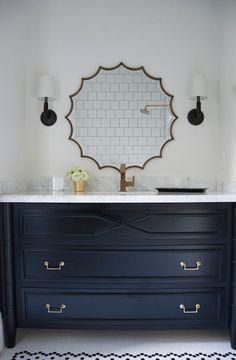 brass scalloped mirror
