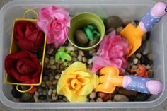 rock garden sensory bin