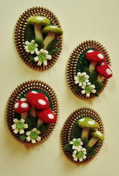 Mushroom brooches by woolly  fabulous, via Flickr