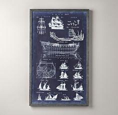 Chamber's Encyclopedia Ship Blueprint | Art | Restoration Hardware Baby & Child