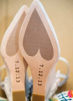 Customized shoe soles designed by the bride | Photo Pink | Blog.theknot.com