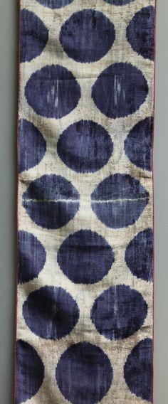 silk and cotton velvet - alabahman - ikat fabric -