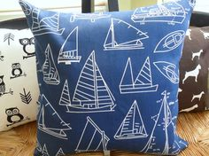 nautical sail boat decorative pillow