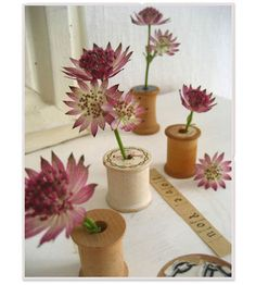 wooden spool vases