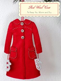 Red Felt Christmas coat ornament with buttons and embroidery