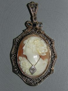 Antique 14k White Gold, Diamond AND Sapphire Habille Carved Shell Cameo Pendant