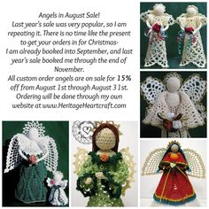 Angels In August Sale at Heritage Heartcraft thread crochet angel