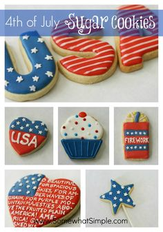 Several cute ideas for decorating sugar cookies for 4th of July.