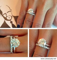 Love this!! Diamond band on one side of engagement ring then I REALLY want a band of husbands birthstone on other side :)