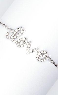 Pave Crystal & Rhodium 'Love' Bracelet