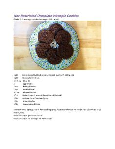 Ideal Protein Chocolate Whoopie Cookie recipe.  6 cookies is 1 IP.  Recipe makes 12 cookies.  Can also be used as mini-muffins