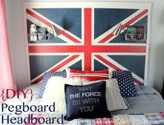 DIY tutorial: Union Jack Pegboard Headboard...this is super cool!