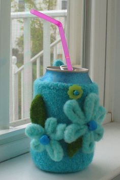 Felted Knitting PATTERN Beverage Hugger Cell by PippsPurses, $3.75
