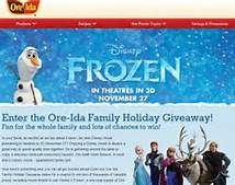 ENTER the Ore-Ida Family Holiday Giveaway !!! For a chance to win one of thousands of valuable prizes, including movie tickets to see Disney's Frozen, a one-year supply of Ore-Ida® products, a $500 Awards2Go Visa® Award Card* and the Grand Prize of a trip to Atlantis®, Paradise Island, Bahamas!  =¥=  NO PURCHASE NECESSARY. See Official Rules for details. (Starts at 12:00 pm ET on 11/1/13 and ends at 11:59 pm ET on 1/15/14.)