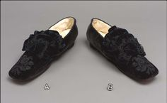 Slippers, Mid-19thc., Made of velvet, lace, and satin