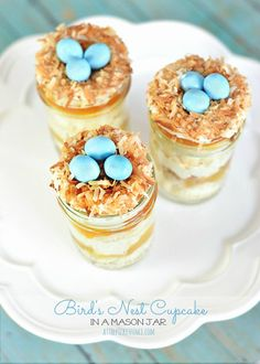 Bird's Nest Cupcakes in Mason Jars - At The Picket Fence
