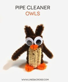 """""""Lines Across"""": How to Make Pipe Cleaner Owls"""
