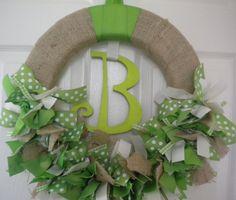 baby ribbon wreath in burlap and spring greens for hospital door hanger, nursery, baby shower, or your own front door.