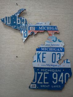Large Shape of Michigan License Plate Art Mitton State Michigander Unique Gift on Etsy, $69.00
