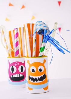 Free printable monster tin can place cards perfect for kids birthday parties