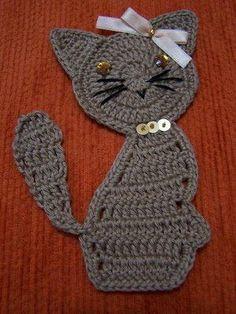 crochet cat applique with diagram