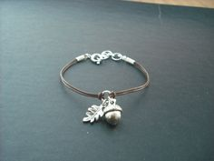 Ready to Ship - a little acorn bracelet  - antique silver. $21.00, via Etsy.