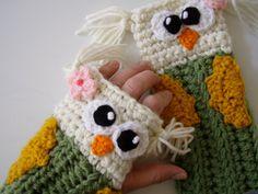 Owl Fingerless Gloves - FREE shipping