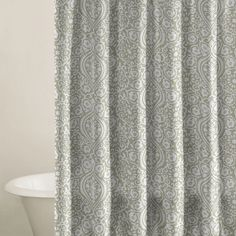 The Henna Shower Curtain adds rich, Moroccan-inspired beauty to your bathroom display. Finished in warm tones of sage and cream, this intricately-detailed curtain showcases a flowing, damask-inspired motif. $24.95 on sale, reg $ 40.00 Via Joss & Main chair cover, showers, henna patterns, color, master bathrooms, hallway, shower curtains, hall bath, backdrop