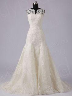 Drop Waist Tank Top Chapel Train Lace Champagne Wedding Dress H7lblb3867
