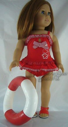 "Red Swimsuit Bathing Suit Made for 18"" American Girl Doll Clothes Totally Cute 