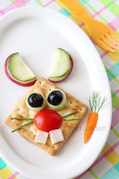Cracker rabbit christmas foods, idea, toddler pictures, cracker rabbit, funny bunnies, rabbit food, snack, food art, kid