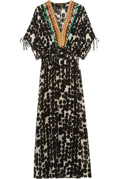 Vineet Bahl Embellished printed chiffon maxi dress