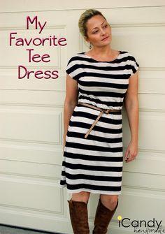 dress patterns, sewing machines, dress tutorials, favorit tee, dresses, tee dress, tee shirts, t shirts, sewing tutorials