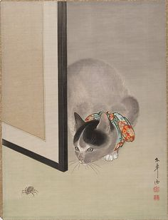 Ôide Tôkô (Japanese, 1841–1905). Cat Watching a Spider, 19th century. Japan. The Metropolitan Museum of Art, New York. Charles Stewart Smith Collection, Gift of Mrs. Charles Stewart Smith, Charles Stewart Smith Jr., and Howard Caswell Smith, in memory of Charles Stewart Smith, 1914 (14.76.61.73) #cats