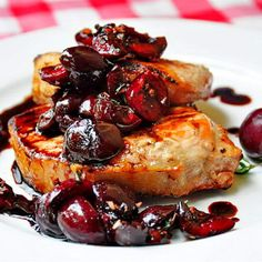 Grilled Pork Loin Chops with Balsamic Thyme Cherries - well trimmed center loin pork chops are extremely lean and I love to use them in one of my go-to quick, easy, healthy and very flavorful weekday dinners. During the winter months this recipe is still delicious with broiled chops.